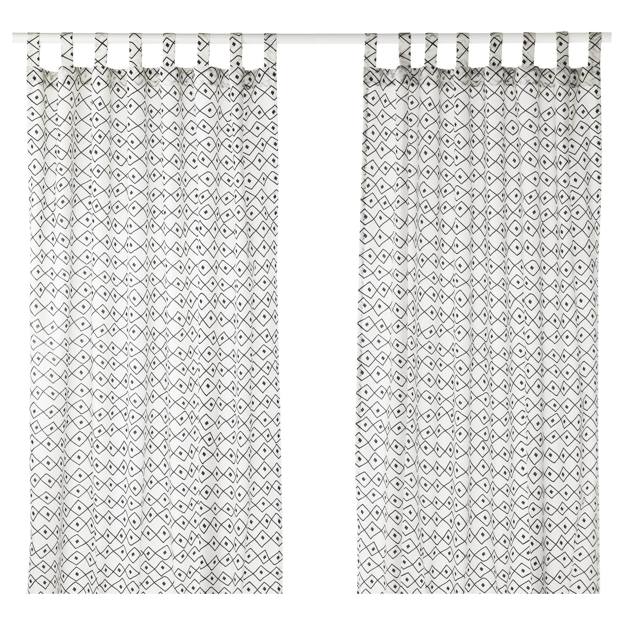 Гардины, 1 пара СОММАР 2017, белый/черный (145×300 см)