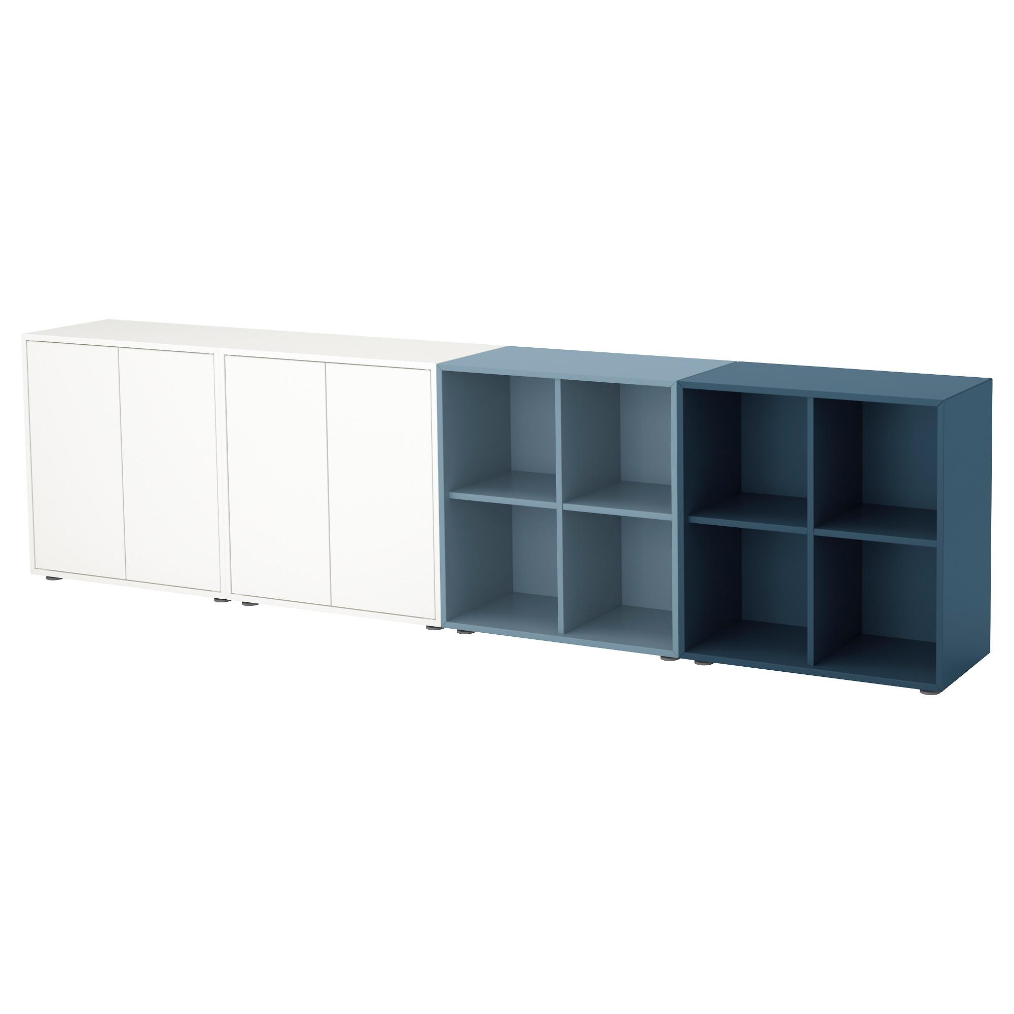 Комбинация шкафов с ножками ЭКЕТ, белый/голубой, темно-синий (280x35x72 см)