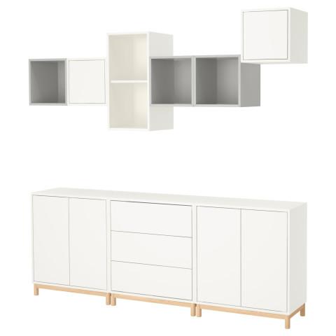 Комбинация шкафов с ножками ЭКЕТ белый/светло-серый артикуль № 691.910.40 в наличии. Онлайн сайт IKEA Республика Беларусь. Недорогая доставка и соборка.
