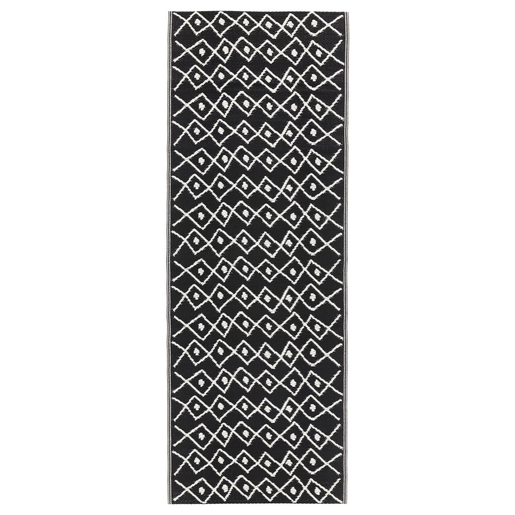 Ковер, безворсовый СОММАР 2017, д/дома/улицы черный, белый (75×200 см)