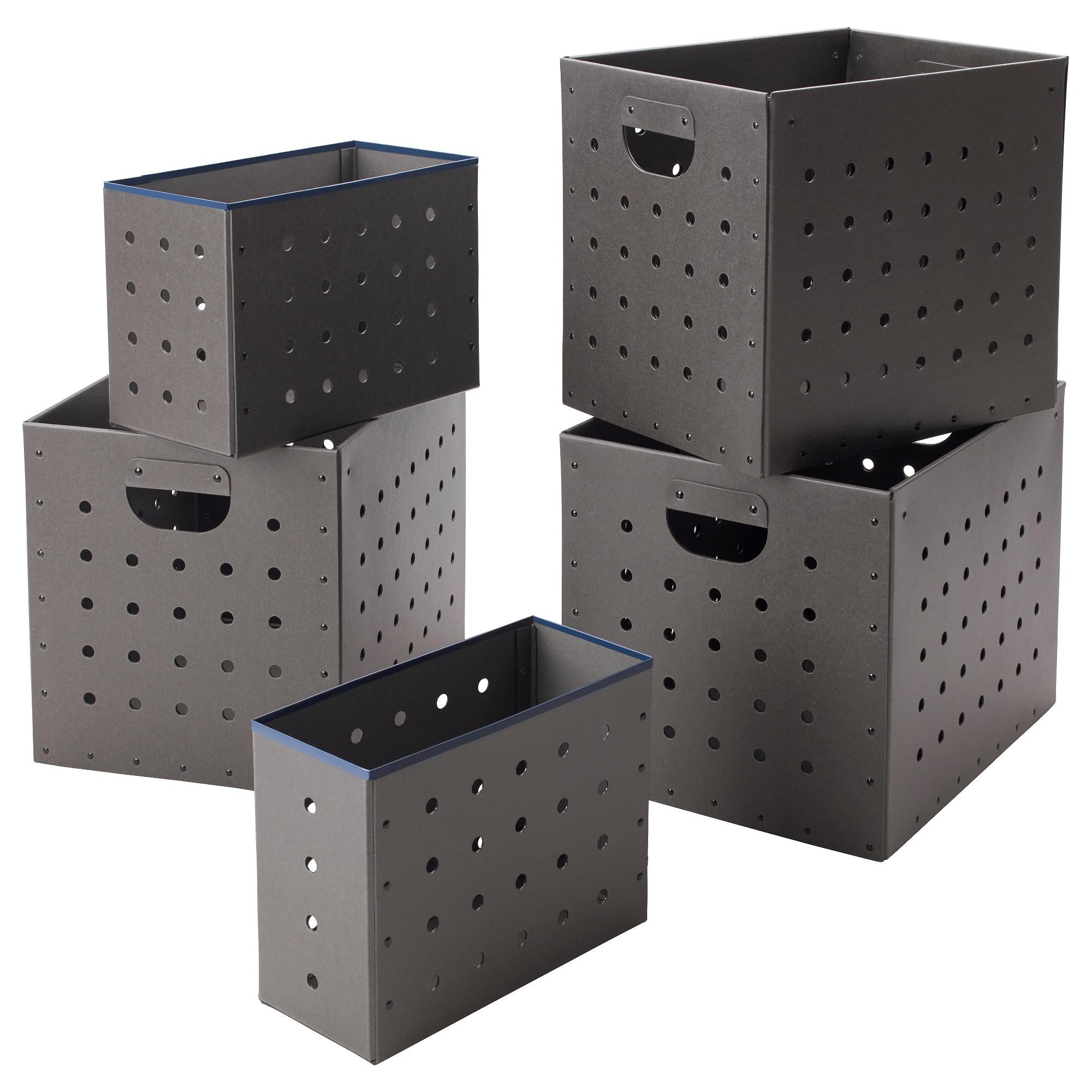 Набор коробок, 5 шт. ИКЕА ПС 2017 серый артикуль № 103.346.49 в наличии. Интернет магазин IKEA Беларусь. Недорогая доставка и установка.