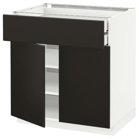 Напольный шкаф, 2 дверцы, 2 ящика МЕТОД / МАКСИМЕРА антрацит артикуль № 492.198.46 в наличии. Онлайн магазин IKEA РБ. Быстрая доставка и установка.