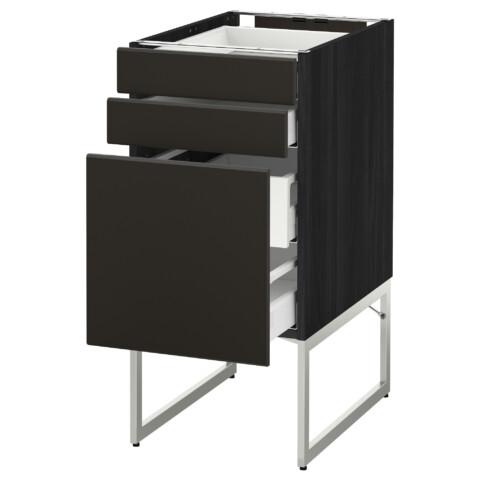 Напольный шкаф 3 фронтальных панели, 2 нижних, 2 средних ящика МЕТОД / МАКСИМЕРА черный артикуль № 892.205.36 в наличии. Онлайн магазин IKEA Минск. Недорогая доставка и установка.