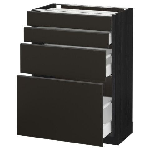 Напольный шкаф 4 фронтальных панели, 4 ящика МЕТОД / МАКСИМЕРА черный артикуль № 492.206.42 в наличии. Интернет сайт IKEA Минск. Недорогая доставка и соборка.