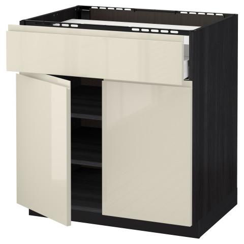 Напольный шкаф для варочной панели, ящик, полка, 2 дверцы МЕТОД / МАКСИМЕРА черный артикуль № 891.682.51 в наличии. Интернет магазин IKEA РБ. Недорогая доставка и монтаж.