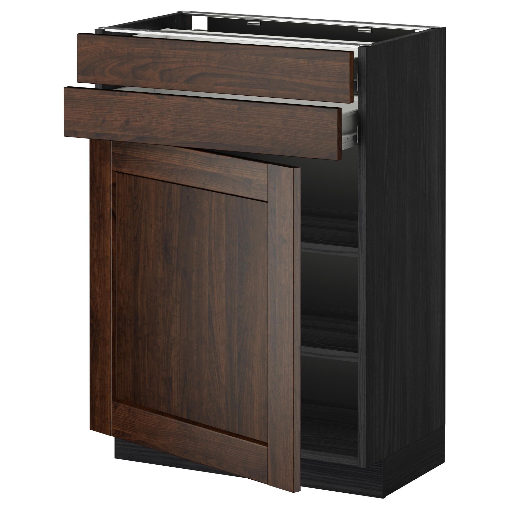 Напольный шкаф с дверцей, 2 ящиками МЕТОД / ФОРВАРА черный артикуль № 390.261.41 в наличии. Онлайн магазин ИКЕА РБ. Недорогая доставка и установка.