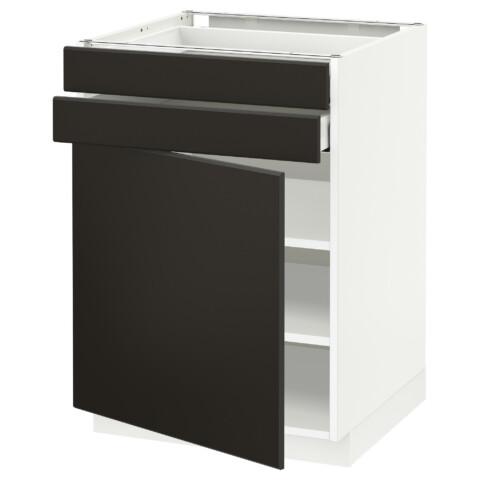 Напольный шкаф с дверцей, 2 ящиками МЕТОД / МАКСИМЕРА антрацит артикуль № 292.198.66 в наличии. Интернет сайт IKEA РБ. Недорогая доставка и монтаж.