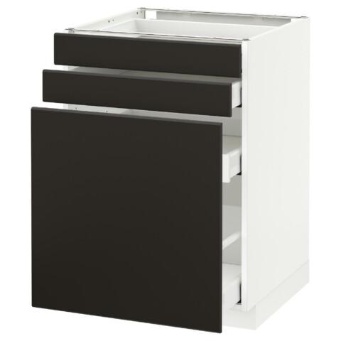 Напольный шкаф с выдвижными модулями, 2 фронтальные панели МЕТОД / МАКСИМЕРА антрацит артикуль № 992.198.82 в наличии. Online каталог IKEA РБ. Недорогая доставка и установка.