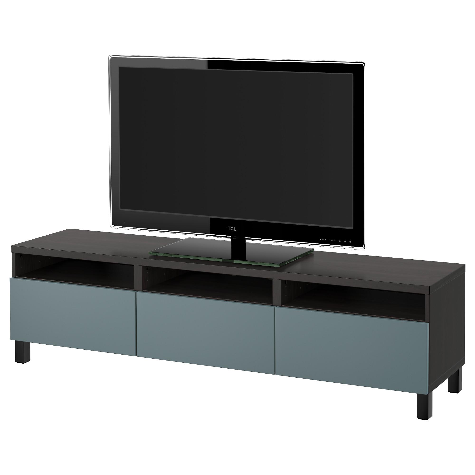 Тумба для ТВ с ящиками БЕСТО, черно-коричневый, Вальвикен серо-бирюзовый (180x40x48 см)