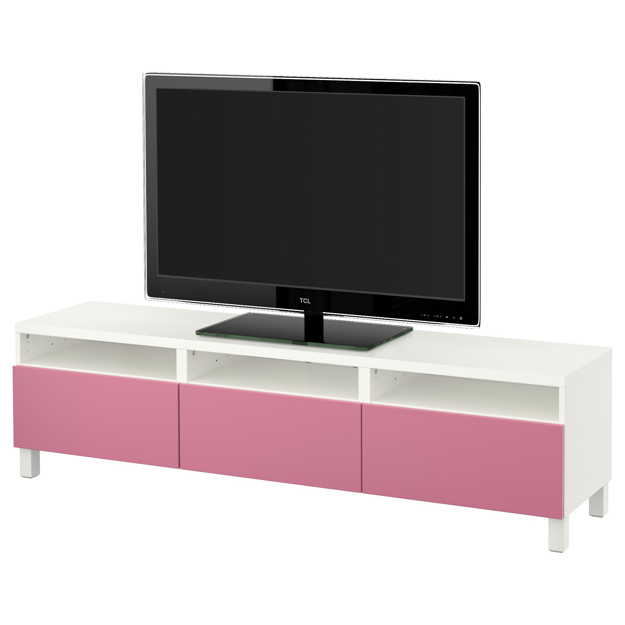 Тумба для ТВ с ящиками БЕСТО, белый, Лаппвикен малиновый (180x40x48 см)
