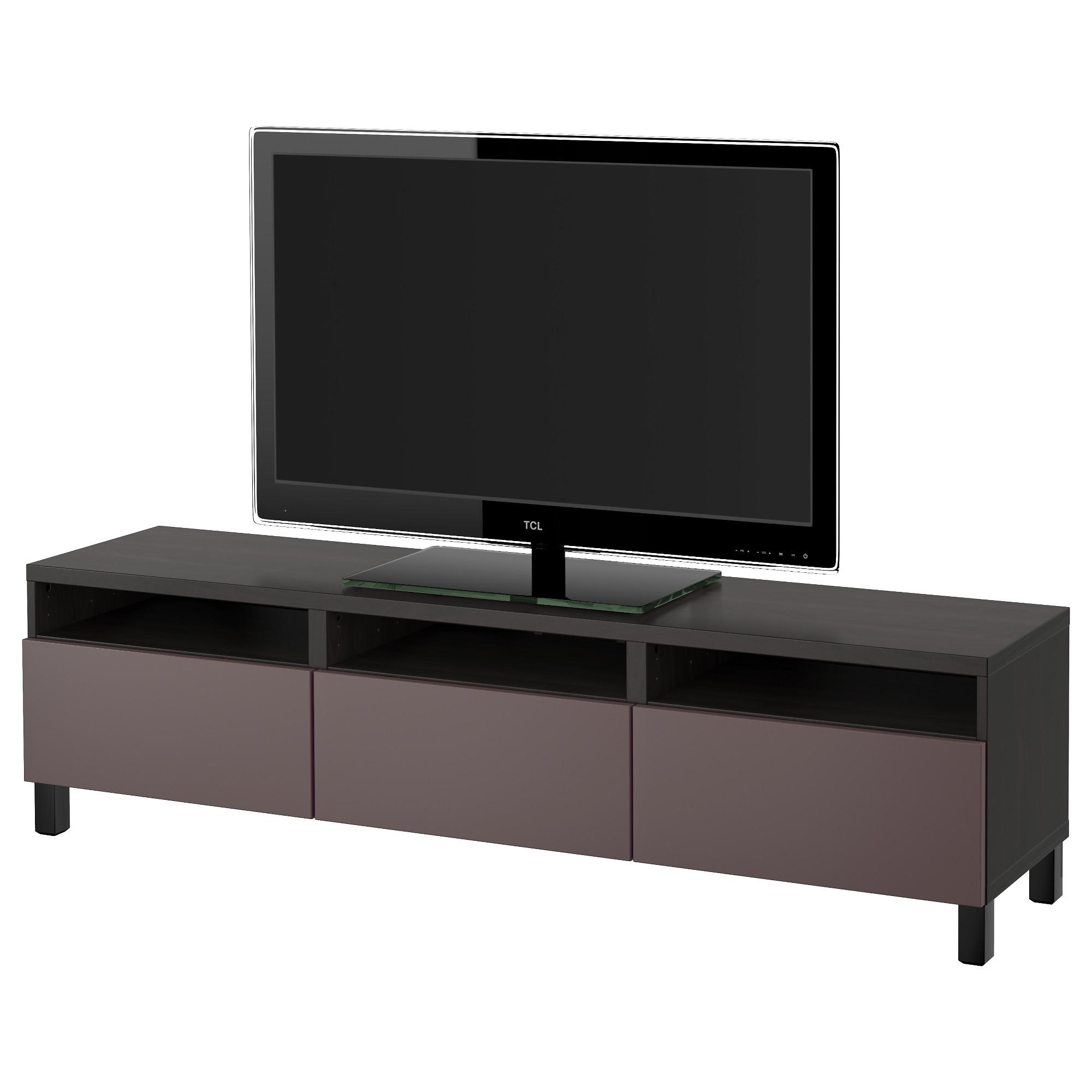 Тумба для ТВ с ящиками БЕСТО, черно-коричневый, Вальвикен темно-коричневый (180x40x48 см)