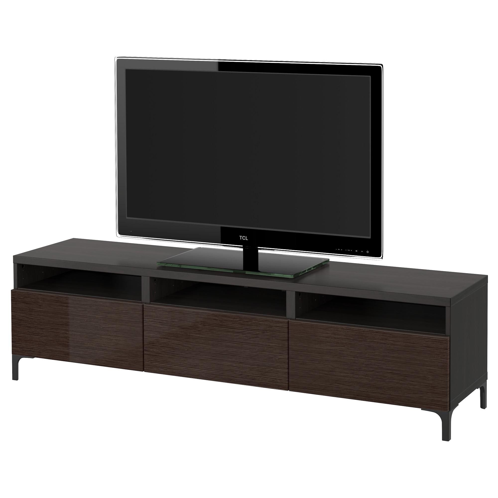 Тумба для ТВ с ящиками БЕСТО, черно-коричневый, Сельсвикен глянцевый/коричневый (180x40x48 см)