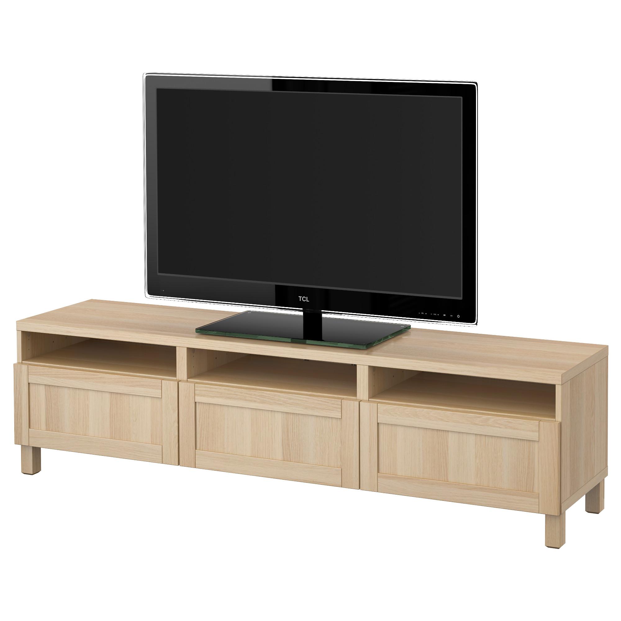 Тумба для ТВ с ящиками БЕСТО, Ханвикен под беленый дуб (180x40x48 см)