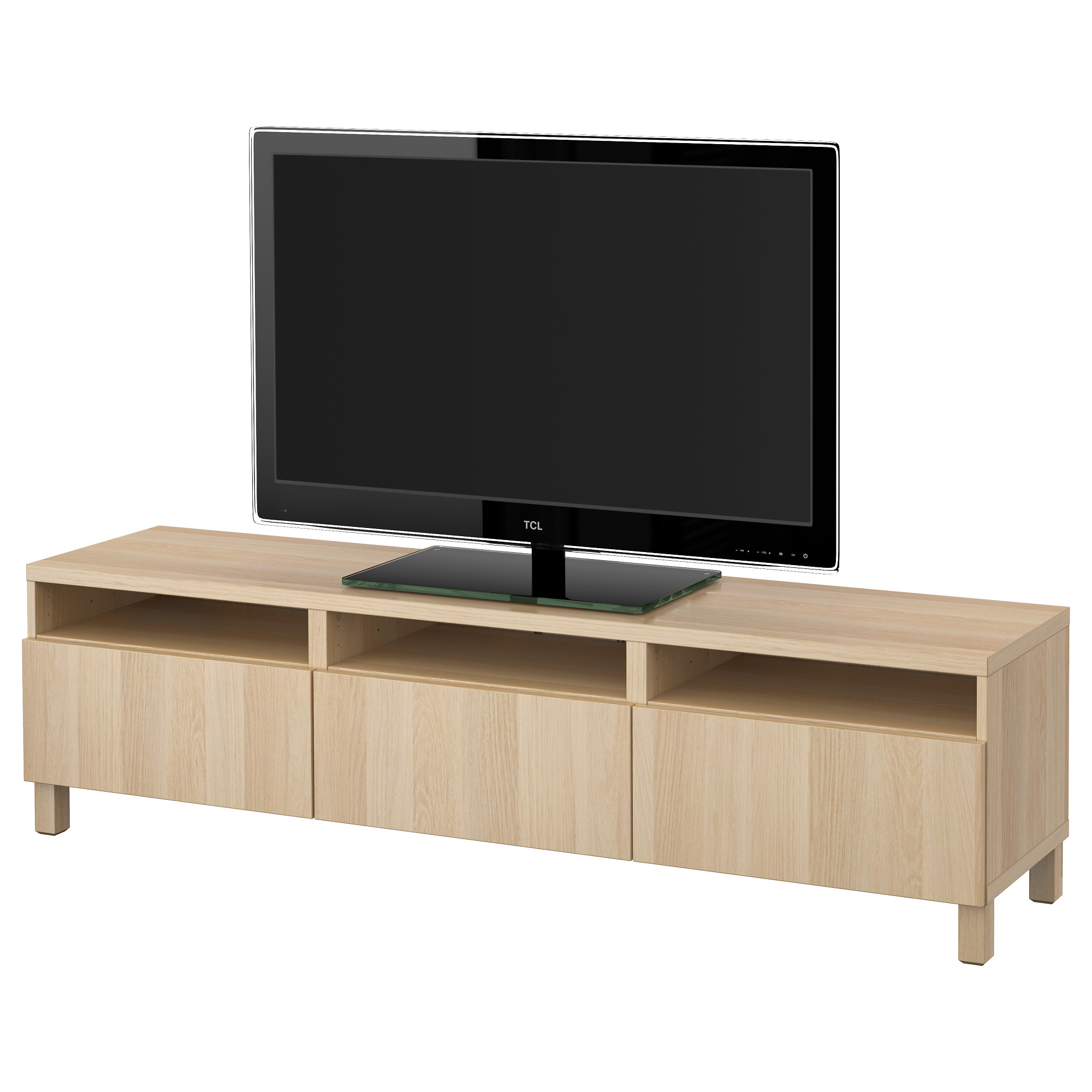Тумба для ТВ с ящиками БЕСТО, Лаппвикен под беленый дуб (180x40x48 см)