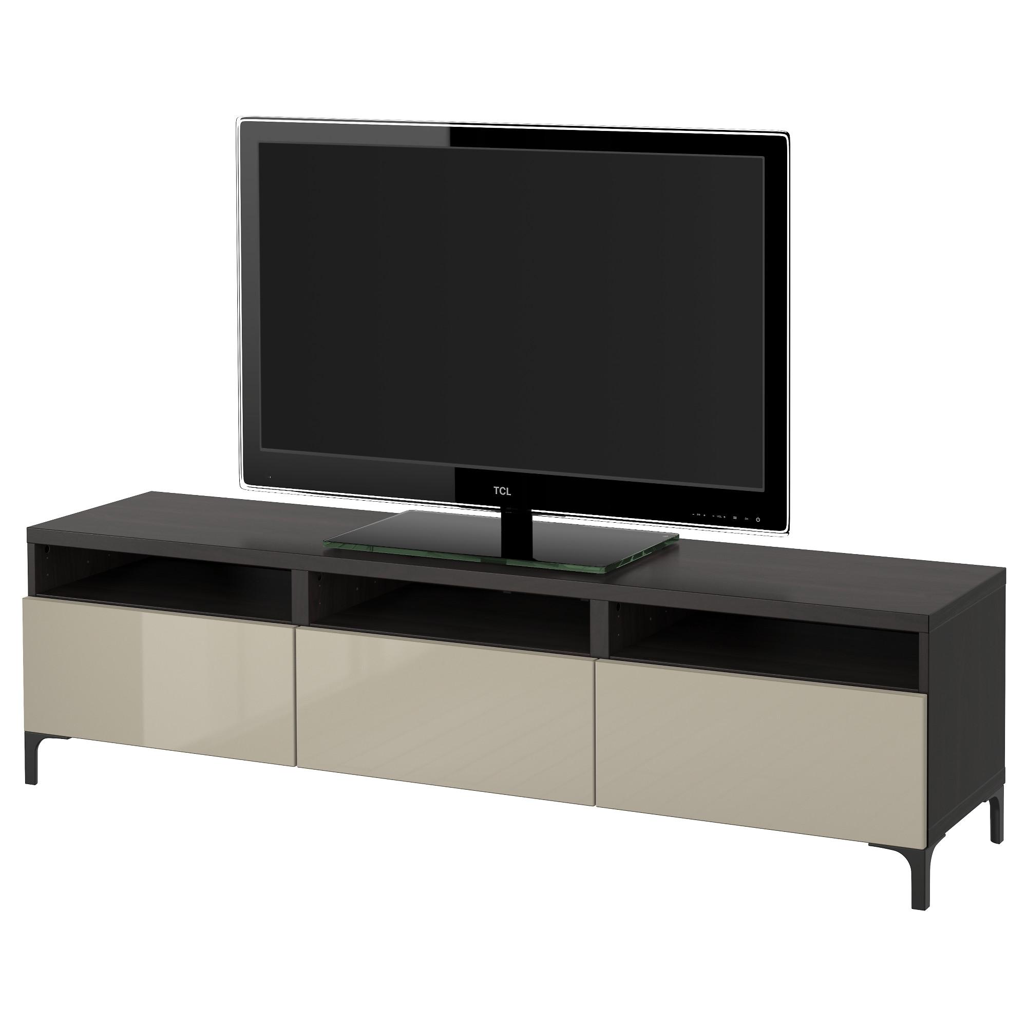 Тумба для ТВ с ящиками БЕСТО, черно-коричневый, Сельсвикен глянцевый/бежевый (180x40x48 см)