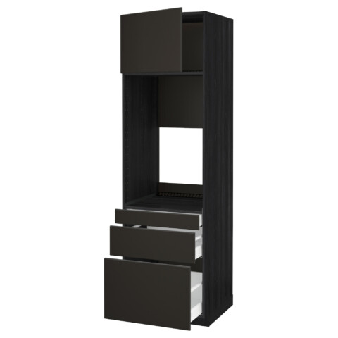 Высокий шкаф для двойной духовки, 3 ящика, дверца МЕТОД / МАКСИМЕРА черный артикуль № 692.207.35 в наличии. Online каталог IKEA РБ. Недорогая доставка и монтаж.