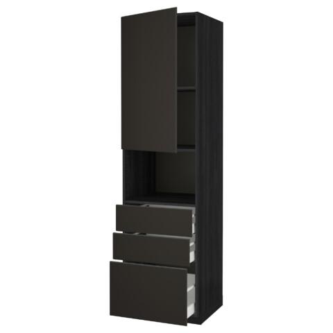 Высокий шкаф для/СВЧ+дверца/3 ящика МЕТОД / МАКСИМЕРА черный артикуль № 092.206.96 в наличии. Online магазин IKEA Минск. Недорогая доставка и установка.