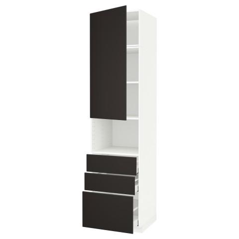 Высокий шкаф для/СВЧ+дверца/3 ящика МЕТОД / МАКСИМЕРА антрацит артикуль № 592.200.00 в наличии. Онлайн каталог IKEA Минск. Недорогая доставка и соборка.