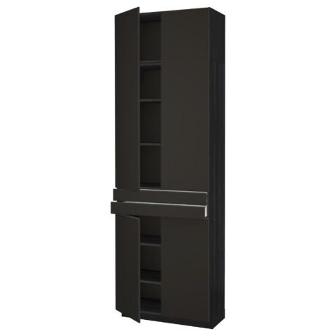 Высокий шкаф + полки, 2 ящика, 4 дверцы МЕТОД / МАКСИМЕРА черный артикуль № 692.206.60 в наличии. Интернет каталог IKEA Минск. Быстрая доставка и монтаж.
