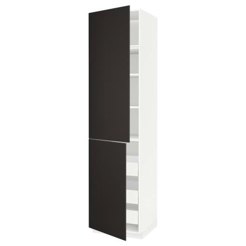 Высокий шкаф + полки, 3 ящика, 2 дверцы МЕТОД / МАКСИМЕРА антрацит артикуль № 292.207.18 в наличии. Онлайн каталог IKEA Минск. Быстрая доставка и соборка.