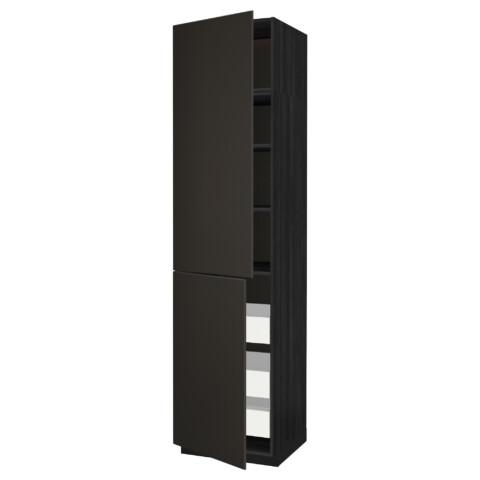 Высокий шкаф + полки, 3 ящика, 2 дверцы МЕТОД / МАКСИМЕРА черный артикуль № 492.207.17 в наличии. Интернет каталог IKEA РБ. Недорогая доставка и монтаж.