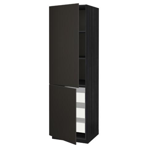 Высокий шкаф + полки, 3 ящика, 2 дверцы МЕТОД / МАКСИМЕРА черный артикуль № 992.207.10 в наличии. Онлайн каталог IKEA РБ. Недорогая доставка и соборка.