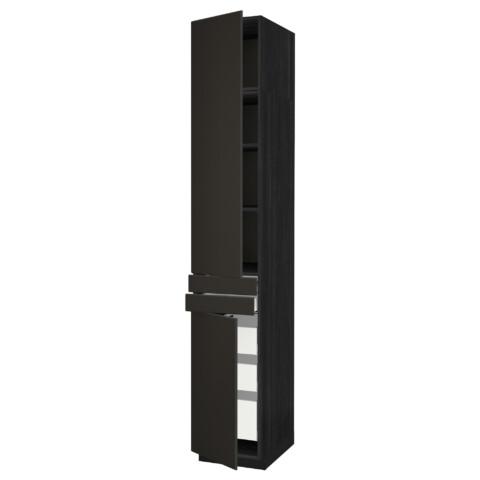 Высокий шкаф + полки, 5 ящиков, 2 дверцы, 2 фронтальных МЕТОД / МАКСИМЕРА черный артикуль № 392.207.27 в наличии. Интернет магазин IKEA РБ. Быстрая доставка и монтаж.