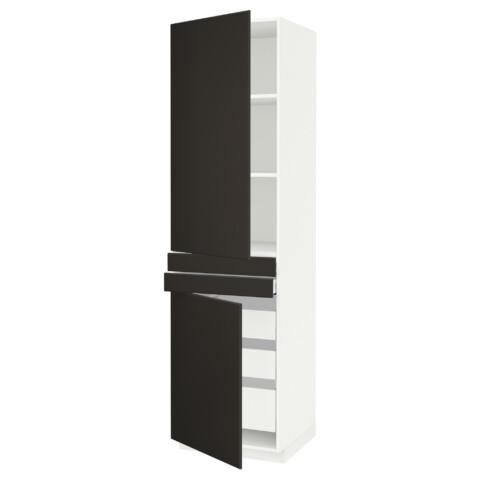 Высокий шкаф + полки, 5 ящиков, 2 дверцы, 2 фронтальных МЕТОД / МАКСИМЕРА антрацит артикуль № 592.207.26 в наличии. Online сайт IKEA Минск. Быстрая доставка и монтаж.