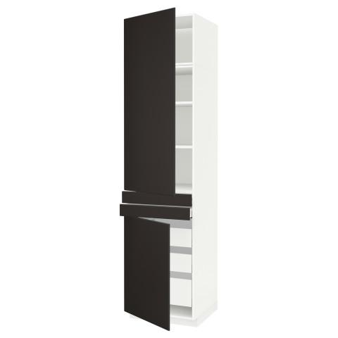 Высокий шкаф + полки, 5 ящиков, 2 дверцы, 2 фронтальных МЕТОД / МАКСИМЕРА антрацит артикуль № 792.207.30 в наличии. Online сайт IKEA Минск. Быстрая доставка и соборка.