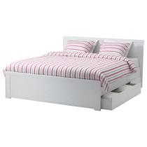 Каркас кровати с 2 ящиками БРУСАЛИ белый артикуль № 192.227.13 в наличии. Онлайн сайт IKEA Беларусь. Недорогая доставка и установка.
