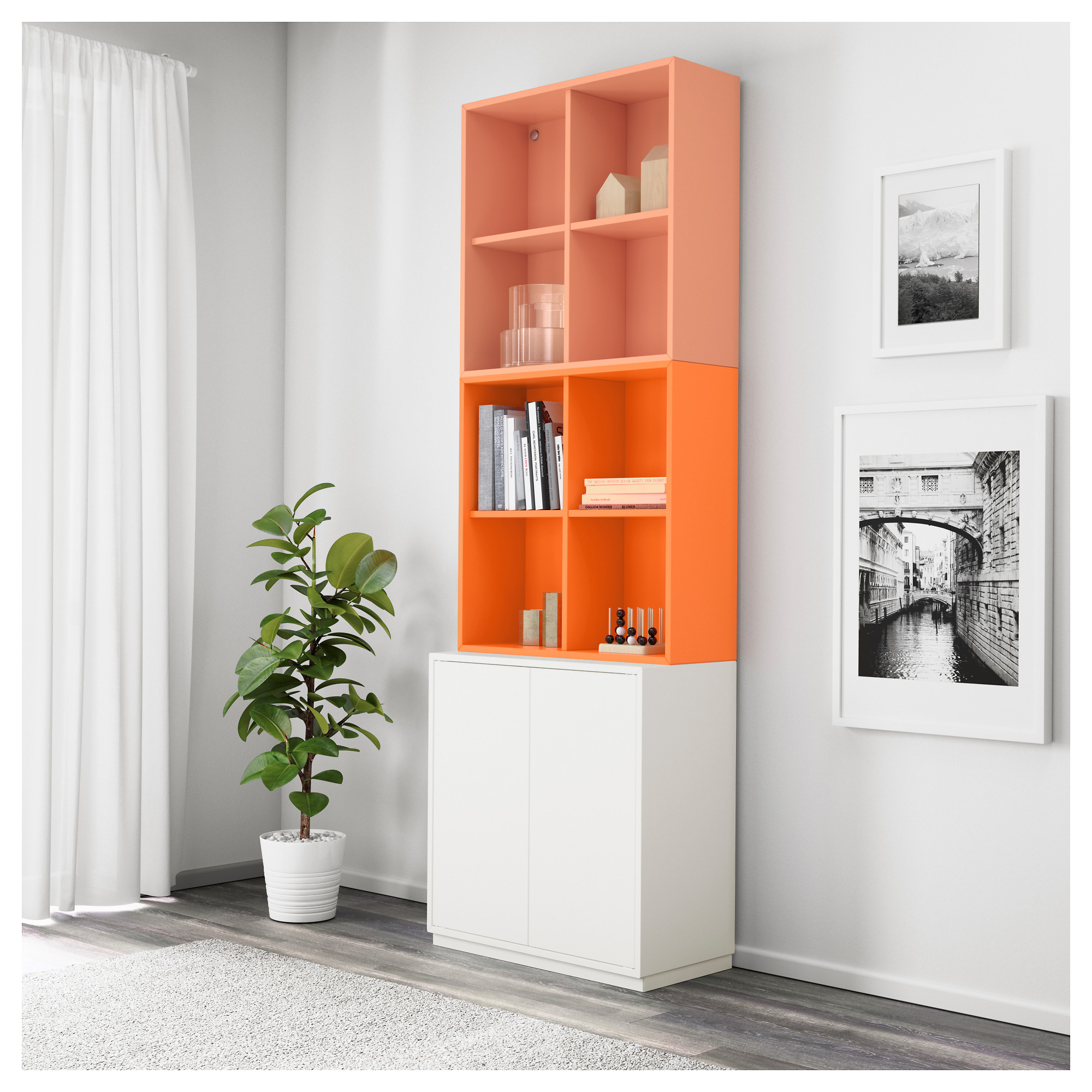 Купить комбинация шкафов с цоколем экет, белый/оранжевый, св.