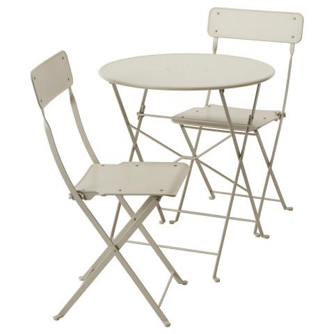 Стол + 2 складных стула для сада САЛЬТХОЛЬМЕН бежевый артикуль № 191.838.15 в наличии. Онлайн магазин ИКЕА Минск. Быстрая доставка и монтаж.