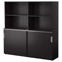 Комбинация для хранения с раздвижной дверцами ГАЛАНТ черно-коричневый артикуль № 691.846.00 в наличии. Онлайн сайт IKEA Беларусь. Быстрая доставка и установка.