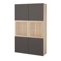 Комбинация для хранения со стеклянными дверцами БЕСТО темно-серый артикуль № 092.055.30 в наличии. Онлайн каталог IKEA РБ. Быстрая доставка и соборка.