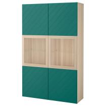 Комбинация для хранения со стеклянными дверцами БЕСТО сине-зеленый артикуль № 092.064.88 в наличии. Онлайн магазин ИКЕА Республика Беларусь. Быстрая доставка и соборка.