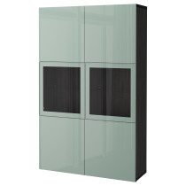 Комбинация для хранения со стеклянными дверцами БЕСТО черно-коричневый артикуль № 292.054.83 в наличии. Online магазин IKEA Минск. Быстрая доставка и монтаж.