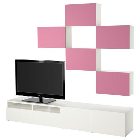 Шкаф для ТВ, комбинация БЕСТО розовый/белый артикуль № 192.178.77 в наличии. Online сайт IKEA Минск. Недорогая доставка и монтаж.