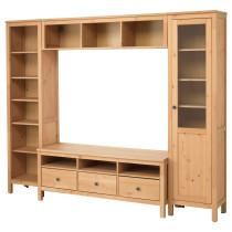 Шкаф для ТВ, комбинация ХЕМНЭС светло-коричневый артикуль № 992.310.49 в наличии. Online сайт IKEA РБ. Недорогая доставка и монтаж.