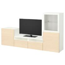 Шкаф для ТВ, комбинированный, стекляные дверцы БЕСТО белый артикуль № 092.072.42 в наличии. Онлайн магазин ИКЕА РБ. Быстрая доставка и установка.