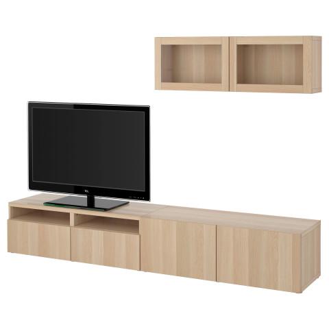 Шкаф для ТВ, комбинированный, стекляные дверцы БЕСТО артикуль № 491.904.71 в наличии. Онлайн магазин IKEA РБ. Недорогая доставка и монтаж.