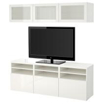 Шкаф для ТВ, комбинированный, стекляные дверцы БЕСТО белый артикуль № 491.965.62 в наличии. Online каталог IKEA РБ. Недорогая доставка и монтаж.