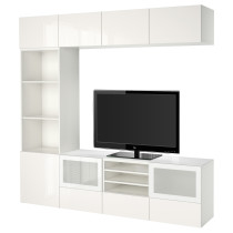 Шкаф для ТВ, комбинированный, стекляные дверцы БЕСТО белый артикуль № 591.967.07 в наличии. Интернет магазин IKEA Беларусь. Недорогая доставка и установка.