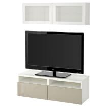 Шкаф для ТВ, комбинированный, стекляные дверцы БЕСТО белый артикуль № 091.893.56 в наличии. Интернет магазин IKEA Беларусь. Недорогая доставка и соборка.