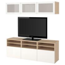 Шкаф для ТВ, комбинированный, стекляные дверцы БЕСТО артикуль № 391.946.10 в наличии. Онлайн сайт IKEA РБ. Недорогая доставка и установка.