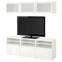 Шкаф для ТВ, комбинированный, стекляные дверцы БЕСТО белый артикуль № 591.945.91 в наличии. Онлайн магазин IKEA Республика Беларусь. Быстрая доставка и монтаж.