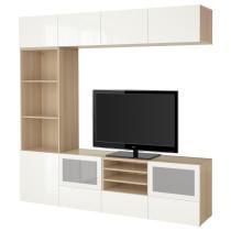 Шкаф для ТВ, комбинированный, стекляные дверцы БЕСТО артикуль № 591.950.10 в наличии. Online сайт IKEA РБ. Недорогая доставка и установка.