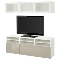 Шкаф для ТВ, комбинированный, стекляные дверцы БЕСТО белый артикуль № 791.945.85 в наличии. Онлайн магазин ИКЕА Минск. Недорогая доставка и установка.