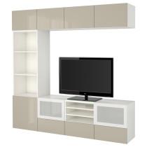 Шкаф для ТВ, комбинированный, стекляные дверцы БЕСТО белый артикуль № 791.949.86 в наличии. Интернет сайт ИКЕА РБ. Быстрая доставка и установка.
