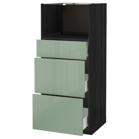 Высокий шкаф для СВЧ с 3 ящиками МЕТОД / ФОРВАРА черный артикуль № 192.493.26 в наличии. Online магазин IKEA Минск. Недорогая доставка и установка.