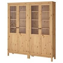 Комбинация для хранения со стеклянными дверцами ХЕМНЭС светло-коричневый артикуль № 192.336.84 в наличии. Интернет магазин IKEA РБ. Быстрая доставка и соборка.
